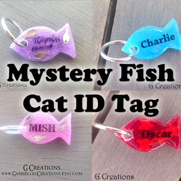 Super SALE Mystery Fish Cat ID Tag - Cute Surprise Design for Kittens - Glow in the Dark Bling Pet ID - Kawaii Glitter Cat Collar Accessory