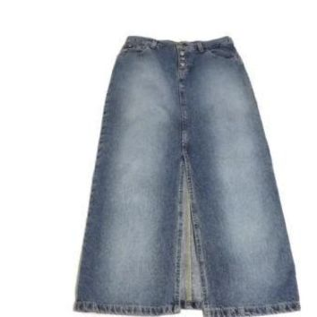 VINTAGE Distressed womens Tommy Hilfiger Long Maxi Jean Skirt Size 4