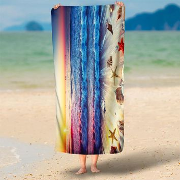 Chic Ombre Sunset Starfish Shell Sea Tide 3D Print Beach Throw Towels 75x150cm Round Beach Towel,Rectangle Tapestry Wall Hanging