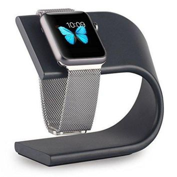 VONL8T Apple Watch Stand , Aluminum Sturdy Platform Holder for Apple Watch Band Series 3 2 1 / 42mm / 38mm (A-black)