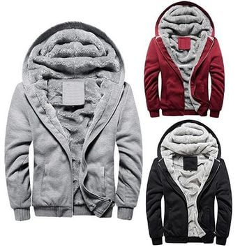 Men Fashion Winter Thick Cotton Coat Casual Hoodies Jacket Outwear