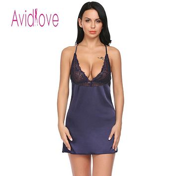 Avidlove Women Night Dress Sleepwear Nighty Sheer Sexy Satin Chemise Nightgown Women Lace Patchwork with G-String