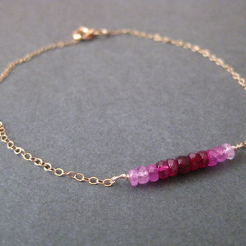 Ombre Ruby Bracelet -  Rose Gold Filled Faceted Precious Gemstone Gradient  July Birthstone