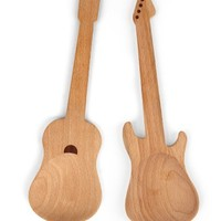 Kikkerland Rockin Wooden Spoons, Set of 2
