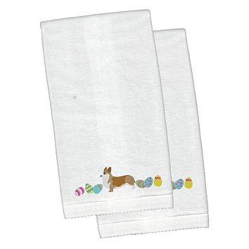 Corgi Easter White Embroidered Plush Hand Towel Set of 2 CK1629KTEMB