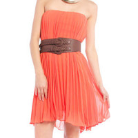 Pleated Tube Dress in Orange