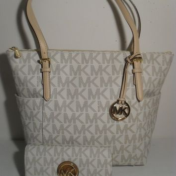 NWT MICHAEL KORS Jet Set Vanilla PVC Gold MK Signature Tote Shoulder Bag Wallet