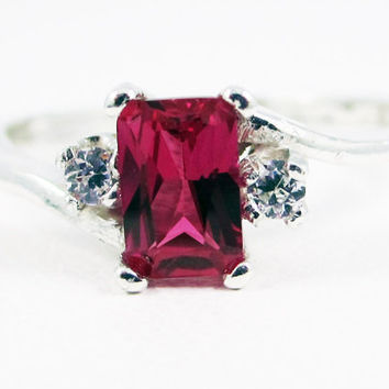 Ruby and CZ Accent Ring, 925 Sterling Silver, July Birthstone Ring, Emerald Cut Ruby Ring, Radiant Ruby Ring, Sterling Ruby Ring, CZ Accent