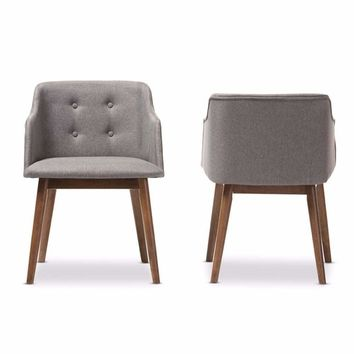 Mid-Century Modern Grey Fabric and Brown Wood Button-Tufted Accent Chair (Set of 2) By Baxton Studio