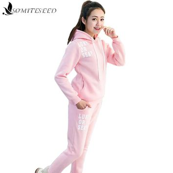 2017 New Spring Autumn Women Two Piece Set Clothing Casual Fashion Hoodies with Cap Ladies Tracksuit Pants 2 Piece Set Women