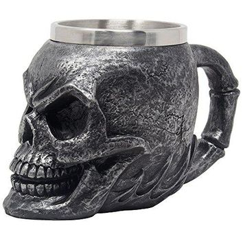 Spooky Human Skull Beer Mug Stein Coffee Cup or Beverage Tankard with Stainless Steel Insert for Scary Halloween Decorations and Decorative Skulls amp Skeletons As Gothic Bar Decor Gifts