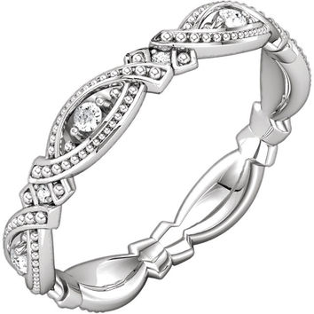 Unique Vintage Style Eternity Band