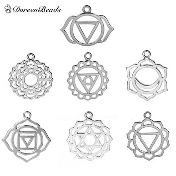 "Zinc Based Alloy Chakra Pendants Mixed Silver Tone Hollow 3.1cm x2.7cm(1 2/8"" x1 1/8"") - 29mm x23mm(1 1/8"" x 7/8""), 7 PCs"