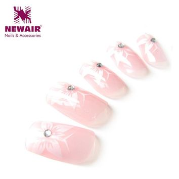 New Fall Series Shiny Flowers Pattern With Diamond Design False Nails Tips Fashion Natural Nail Art Patch For Cool Beaty