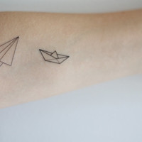 Paper Boat and Airplane Temporary Tattoo Set by LionHeadDesigns