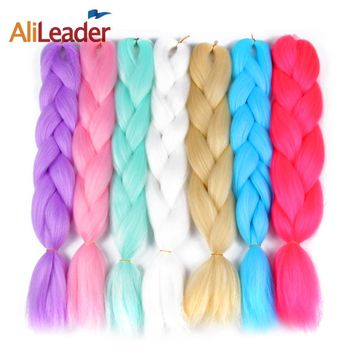 "AliLeader 100 Kanekalon Jumbo Braid Hair For Russian Women 47 Colors Ombre Synthetic Braiding Hair 100G 24"" Crochet Twist Hair"