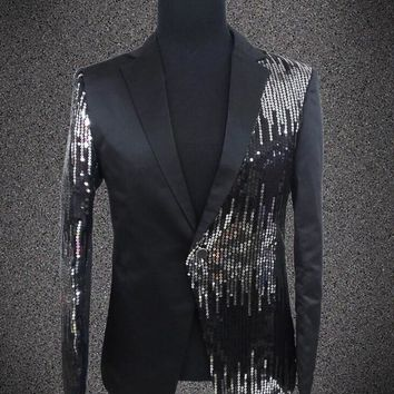 Trendy Plus size sequins blazer male singer DJ formal dress the groom paillette costume Wedding Slim Fit Groom jacket For Men AT_94_13