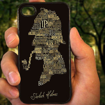 herlock Holmes - Based Typography case for iPhone 4 4S 5 5C 5 5S 6 Plus,Samsung Galaxy s3 s4 s5,Note 3