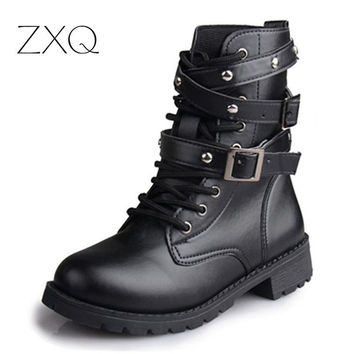 Fashion Womens Motorcycle Boots Ladies Vintage Rivet Combat Army Punk Goth Ankle Shoes Biker Leather women boot