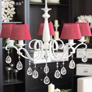 American Crystal Chandelier W/ Fabric Lampshade Red/Brown/Beige 5 Arms/8 Arms Modern Bedroom/Living Room Chandelier Lighting