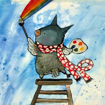 Artist Owl Painting Rainbows. Whimsical Kids Wall Art, Childrens Room Decor, Owl Art, Owl Nursery Art, Cute Owl, Woodland Owl, Original Art