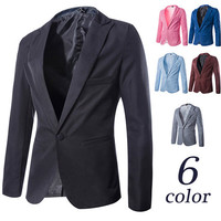 Single Button Slim Fit Solid Color Blazer
