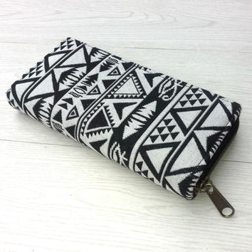 Tribal Aztec Long Wallet Clutch, Handmade Womens Zippered Wallet , Egypt Pyramid and Eye Print Phone case wallet, travel wallet, YKK zipper