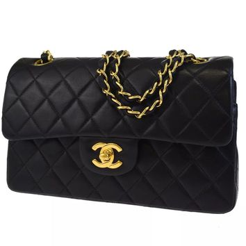 CHANEL BLACK QUILTED 2.55 LAMBSKIN VINTAGE MEDIUM CLASSIC DOUBLE FLAP BAG GHW A9