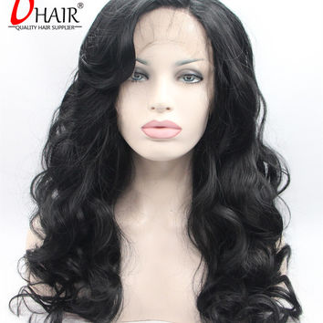 2016 Beautiful Silky Deep Wave Synthetic Lace Front Wig Natural Black Synthetic Lace Front Wig Nice And Simple Silk Hair Wig