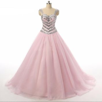 Ball Gown Wedding Dresses Sweetheart Crystal Beaded Lace-up Tulle Pink Wedding Gowns