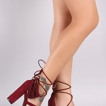 Bamboo Suede Beaded Tassel Lace Up Chunky Heel