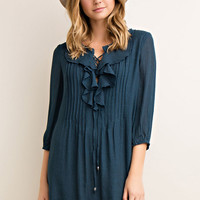Ruffled Detail Shift Dress