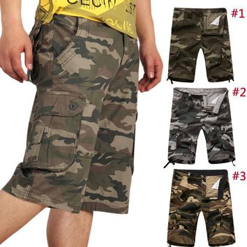 Summer Mens Cargo Camo Casual Baggy Tactical Army Camouflage Short Pants Trousers H9