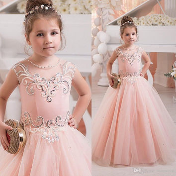 2016 Pink Beaded Flower Girl's Dresses For Weddings Crystal Little Girls Pageant Gowns Floor Length Kids Formal Wear FG21