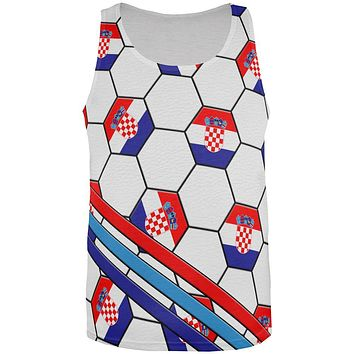 World Cup Croatia Soccer Ball All Over Mens Tank Top