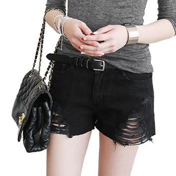 Black Denim Shorts Sexy Women Summer Hole Destroyed Shorts Jeans Oversized Casual Jeans Short Feminino
