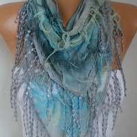 Ombre Butterfly Scarf Spring Summer Scarf Mother's Day Gift Fringe Scarf Cowl Scarf Gift Ideas For Her Women's Fashion Accessories