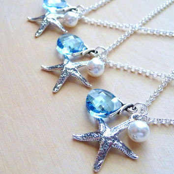 Bridesmaid Necklace, One (1) Starfish, Pearl, Swarovski Crystal Charm Necklace, Bridal Wedding Jewelry, Ocean Blue