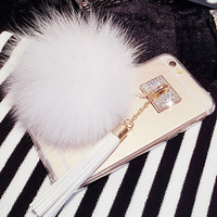 Luxury Fox Fur Ball Long Tassels Crystal Buckle Soft TPU Phone Back Cover For iPhone 7 For iPhone7 7 Plus Hot Mobile Phone Case