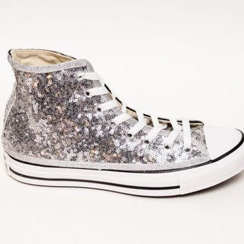 Tiny Sequin | Starlight Silver with Black Stripes Converse Canvas Hi Top Sneaker Tenni