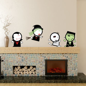 Spooky Halloween friends vinyl wall decals, home decor, housewares, wall art