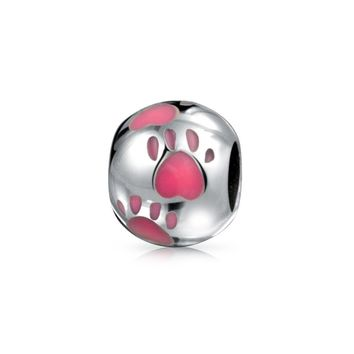Pink Dog Cat Puppy Kitten Paw Print BFF Pet Lover Charm Bead Silver