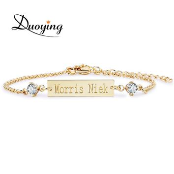 Best engraved baby gifts products on wanelo duoying crystal baby bracelet gold color 256 mm bar personalized custom name engraved bracelet negle Images