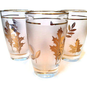 Libbey Glasses, Gold Leaf, Frosted Tumblers, S/3