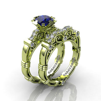 Art Masters Caravaggio 18K Green Gold 1.0 Ct Blue Sapphire Diamond Engagement Ring Wedding Band Set R623S-18KGGDBS