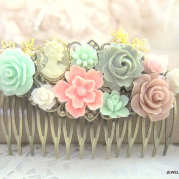 Pink Mint Green Sage Hair Comb Flower Floral Hair Accessories Hair Piece Wedding Bridesmaid Gift Shabby Chic Fall Soft Romance Pastel Colors