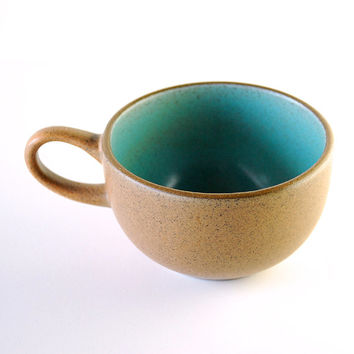 Vintage Heath Ceramics Teacup in Aqua and Brown