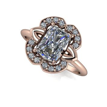 Diamond Halo Radiant Cut Engagement Ring Radiant Cut - Russian Brilliants Radiant Cut Ring