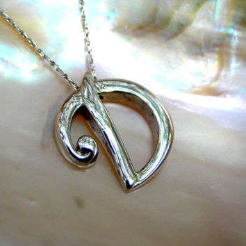 HUGE Sale Letter D Judith Jack Sterling Necklace Initial D Necklace Gorgeous Solid Sterling