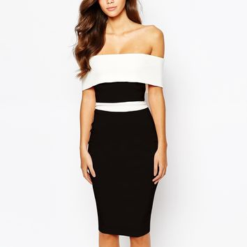 Vesper Off Shoulder Pencil Dress In Contrast